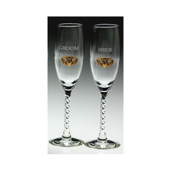 Bride and Groom Gold Claddagh Toasting Flutes