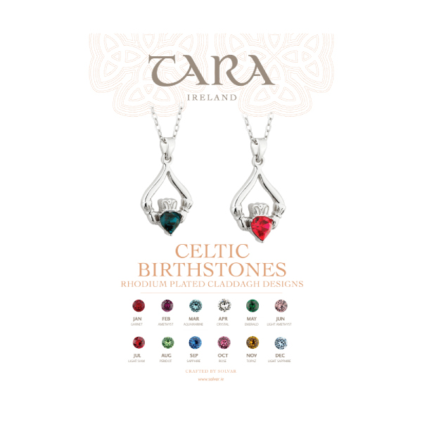 Claddagh Birthstone Necklaces and Rings