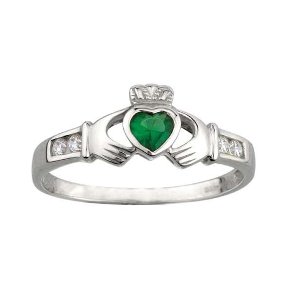 Women's Sterling Silver Claddagh Rings with Stones